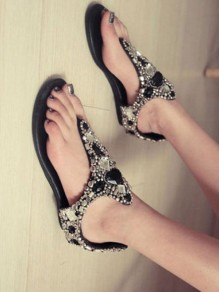 Black Round Toe Wedges Rhinestone Fashion Low-Heeled Sandals