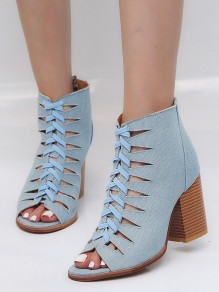 Light Blue Piscine Mouth Chunky Cut Out Fashion High-Heeled Shoes