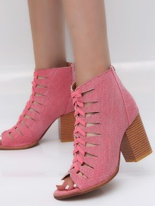 Pink Piscine Mouth Chunky Cut Out Fashion High-Heeled Shoes