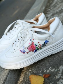 White Round Toe Embroidery Flower Fashion Ankle Shoes