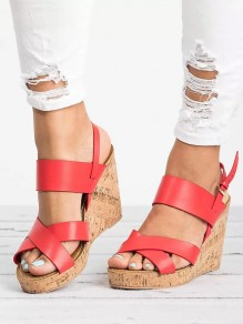 Red Round Toe Wedges Casual High-Heeled Sandals