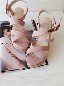 Pink Round Toe Wedges Buckle Fashion High-Heeled Sandals