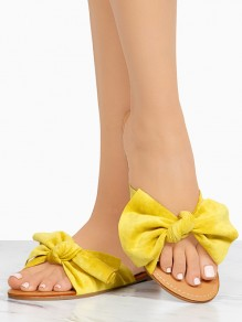 Yellow Round Toe Flat Bow Fashion Ankle Sandals