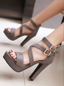 Grey Round Toe Chunky Buckle Fashion High-Heeled Sandals