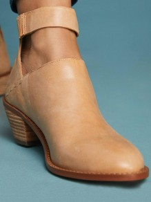 Apricot Round Toe Chunky Casual High-Heeled Boots
