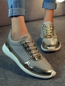 Golden Round Toe Flat Fashion Ankle Shoes