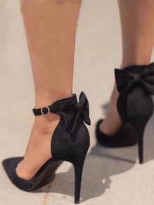 Black Point Toe Stiletto Bow Fashion High-Heeled Shoes
