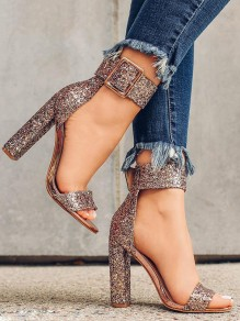 Golden Round Toe Chunky Glittery Sequin Ankle Strap Party Prom High-Heeled Sandals