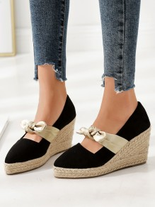 Black And Apricot Point Toe Bow Fashion Wedges Shoes