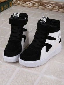 Black-White Round Toe Heavy-Soled Within The Higher Casual Shoes