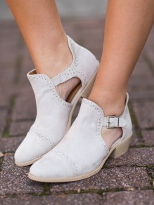 White Round Toe Chunky Fashion Ankle Boots