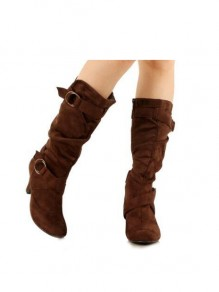 Brown Round Fashion High-Heeled Boots