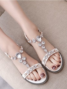 White Round Rhinestone Casual Ankle Sandals