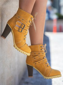 Yellow Round Toe Rivet Chunky Fashion Ankle Boots