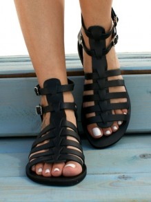 Black Round Toe Flat Double Buckle Fashion Ankle Sandals