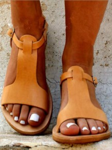 Yellow Round Toe Casual Ankle Sandals