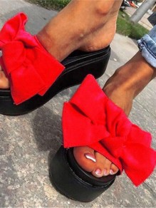 Red Round Toe Flat Bow Fashion Heavy-Soled Sandals