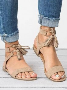 Khaki Round Casual Ankle Sandals