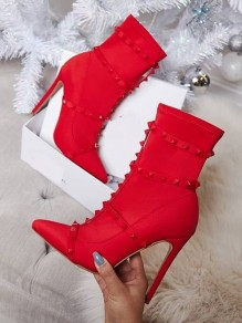 Red Point Rivet Fashion High-Heeled Boots