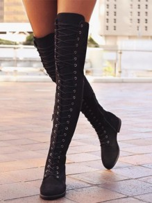 Black Round Toe Lace-up Over-The-Knee Fashion Boots