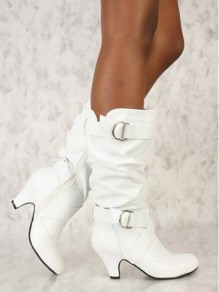 White Round Casual Ankle Boots
