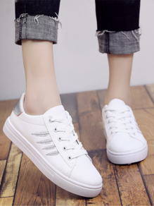 White-Silver Round Toe Flat Print Casual Shoes