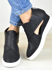 Black Round Toe Flat Cut Out Fashion Heavy-Soled Shoes