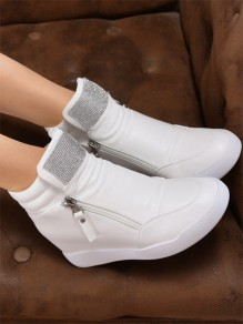 White Round Toe Zipper Sequin Fashion Ankle Shoes