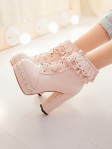 Pink Round Toe Lace Zipper Lace-up Chunky Fashion Ankle Boots