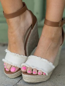 Beige Round Toe Wedges Casual High-Heeled Sandals