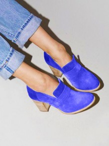 Blue Round Toe Chunky Fashion High-Heeled Shoes