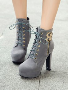 Grey Round Toe Chunky Double Buckle Fashion Ankle Boots