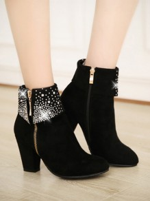 Black Round Toe Rhinestone Fashion Ankle Boots