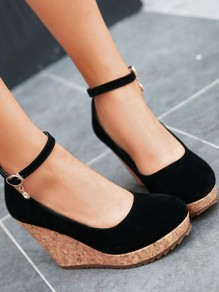 Black Round Toe Rhinestone Fashion Wedges Shoes