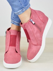 Pink Round Toe Zipper Wedges Fashion Mid-Calf Boots