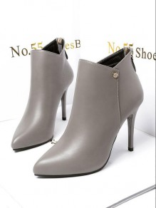 Grey Point Toe Stiletto Fashion Ankle Boots