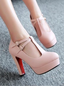 0ad631b23ba Pink Round Toe Chunky Cut Out Buckle Fashion High-Heeled Shoes