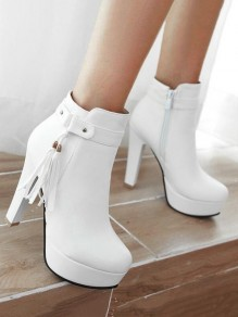 White Round Toe Chunky Tassel Fashion Ankle Boots