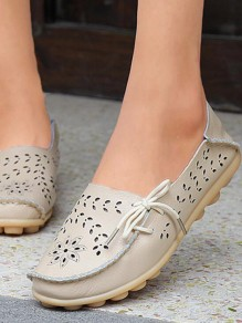 Beige Round Toe Bow Fashion Ankle Shoes