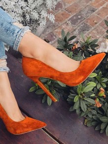 Orange Point Toe Stiletto Fashion High-Heeled Shoes