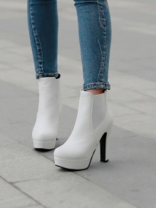 White Round Toe Chunky Patchwork Fashion Ankle Boots