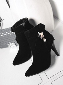 Black Point Toe Stiletto Bow Pearl Fashion Ankle Boots