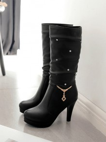 Black Round Toe Rhinestone Fashion Mid-Calf Boots