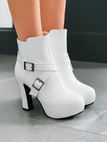 White Round Toe Chunky Ankle Boots