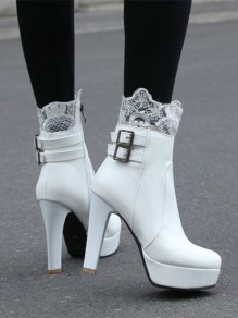 White Round Toe Lace Fashion Ankle Boots