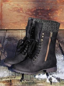 Black Round Toe Zipper Fashion Ankle Boots
