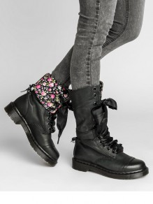 Black Round Toe Flat Floral Print Cross Strap Fashion Mid-Calf Boots