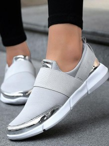 Grey Round Toe Sequin Fashion Ankle Shoes