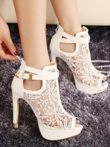 White Round Toe Chunky Sequin Fashion Ankle Boots