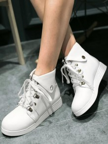 White Round Toe Rivet Fashion Ankle Boots